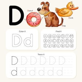 Arkusz roboczy z literą d ze zwierzętami i pączkiem