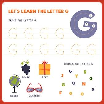 Arkusz roboczy z literą g dla dzieci