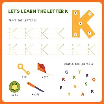 Arkusz roboczy z literą k dla dzieci