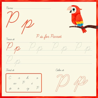 Arkusz roboczy z literą p z papugą