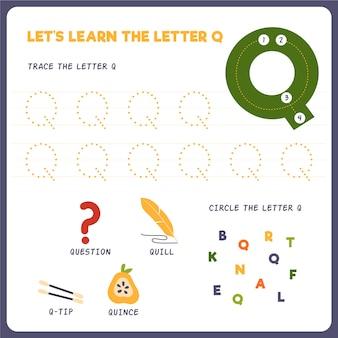 Arkusz roboczy z literą q dla dzieci