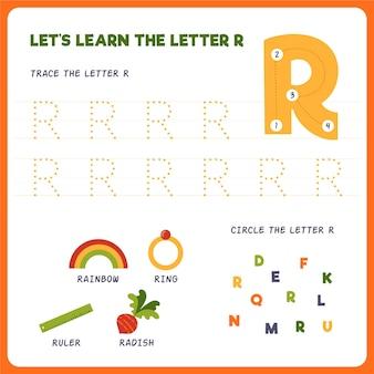 Arkusz roboczy z literą r dla dzieci