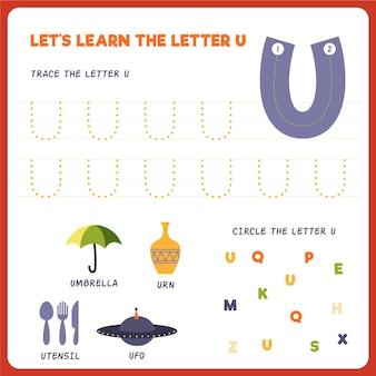 Arkusz roboczy z literą u dla dzieci