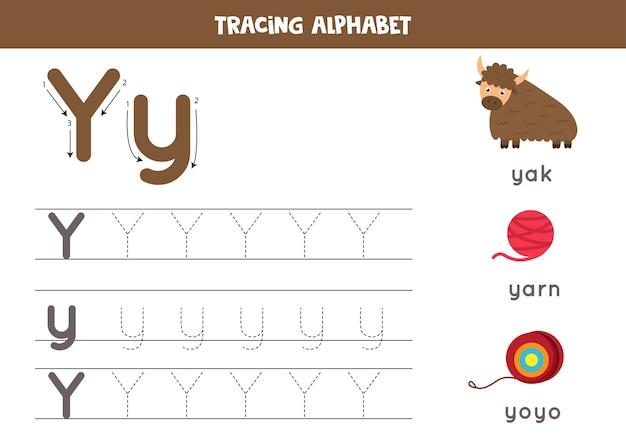 Arkusz śledzenia alfabetu. pisanie stron az. wielkie i małe litery y z rysunkowym jaka, przędzą, jojo. ćwiczenia pisma ręcznego dla dzieci. arkusz roboczy do druku.