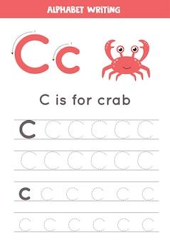 Arkusz śledzenia alfabetu z ilustracjami zwierząt
