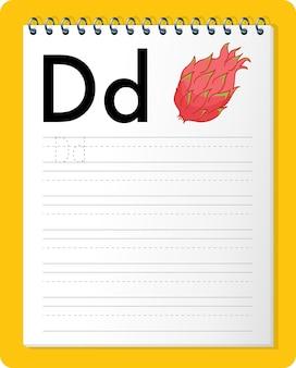 Arkusz śledzenia alfabetu z literą d.