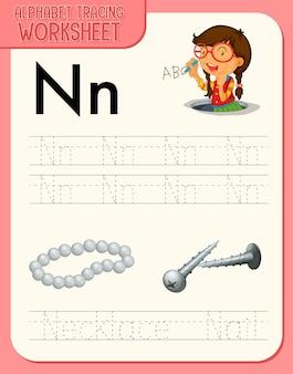 Arkusz śledzenia alfabetu z literami i słownictwem
