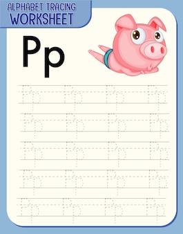 Arkusz śledzenia alfabetu z literami p i p