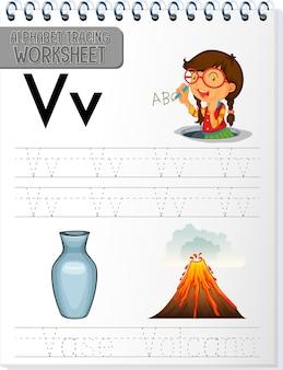 Arkusz śledzenia alfabetu z literami v i v