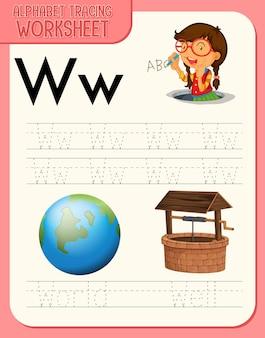 Arkusz śledzenia alfabetu z literami w i w.