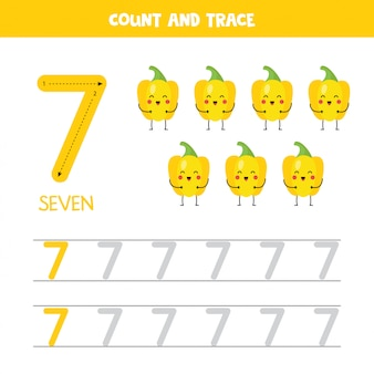 Arkusz śledzenia numerów. numer siedem z uroczą żółtą papryką w kolorze kawyii.
