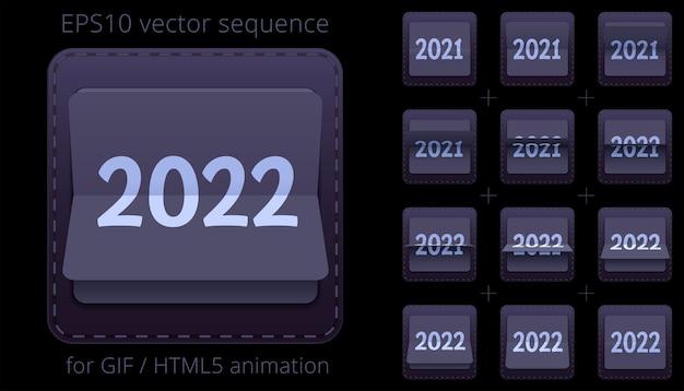 Arkusz sprite 2021 2022 do animowanego baneru internetowego z klapką na imprezy noworoczne