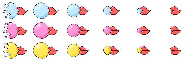 Arkusz sprite gumy balonowej z ust.
