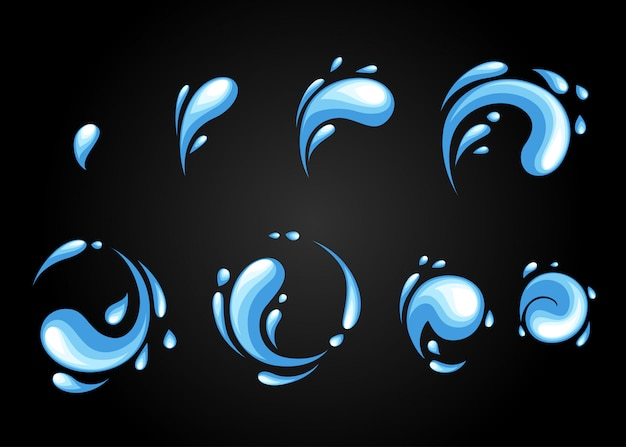 Arkusz sprite'ów animacji efektów specjalnych eksplozji wody. wirowe ramki eksplozji wody i mocy grzmotów do animacji flash w grach, filmach i kreskówkach