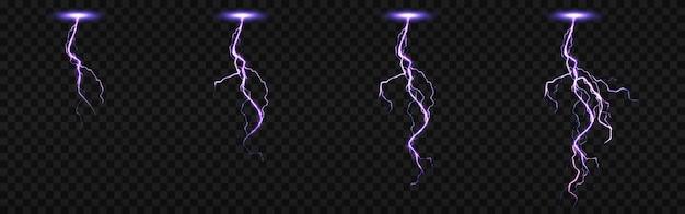 Arkusz sprite'ów z błyskawicami, uderzeniami pioruna ustawionymi do animacji fx. realistyczny zestaw fioletowego uderzenia elektrycznego w nocy, iskrzącego wyładowania burzy na przezroczystym tle