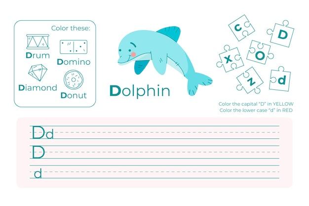 Arkusz z literą d z delfinem