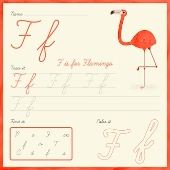 Arkusz z literą f z flamingiem