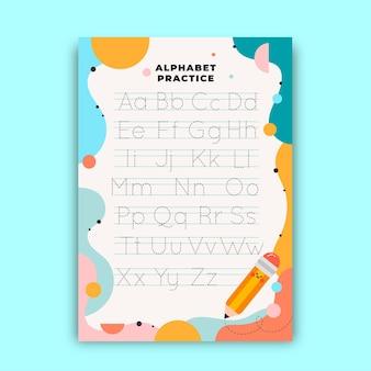 Arkusz ze śledzeniem alfabetu dla dzieci