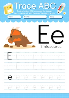 Arkusz ze śledzeniem alfabetu z literą e słownictwa dinozaurów