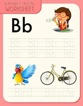 Arkusz ze śledzeniem alfabetu z literami i słownictwem