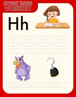 Arkusz ze śledzeniem alfabetu zawierający litery i słownictwo