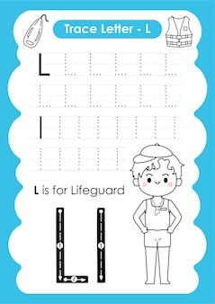 Arkusz ze śledzeniem alfabetu ze słownictwem zawodu napisanym przez ratownika na literę l.