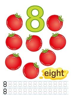 Arkusz ze świeżymi warzywami i pomidorami dla przedszkola i przedszkola