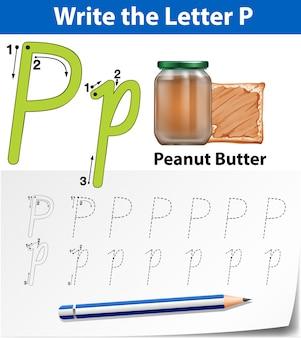 Arkusze alfabetu alfabetu śledzenia p
