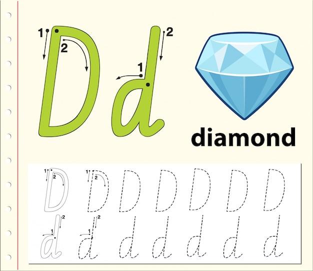 Arkusze alfabetu śledzenia literą d