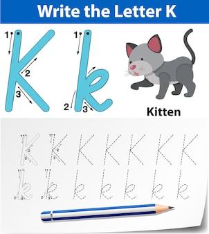 Arkusze alfabetu śledzenia literą k