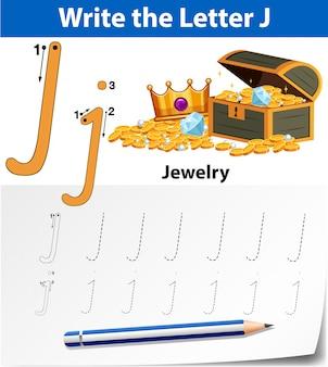 Arkusze alfabetu śledzenia litery j