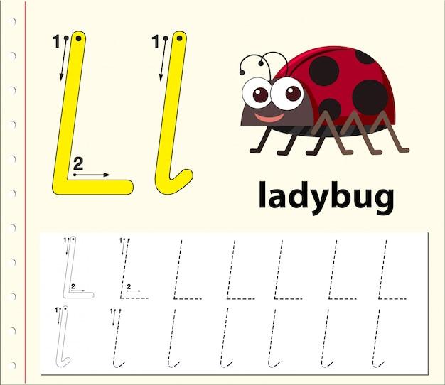 Arkusze alfabetu śledzenia litery l