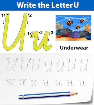 Arkusze alfabetu śledzenia litery u.