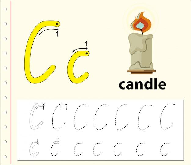 Arkusze alfabetu z alfabetem litera c