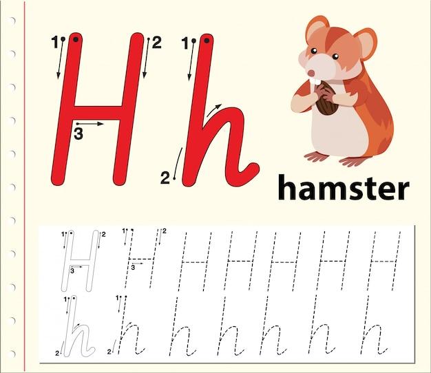 Arkusze alfabetu z alfabetem litera h
