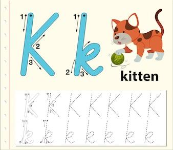 Arkusze alfabetu z alfabetem litera K