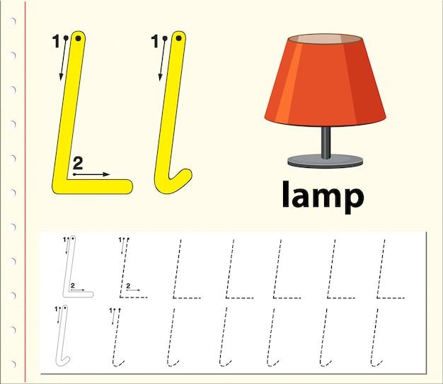 Arkusze alfabetu z alfabetem litera l