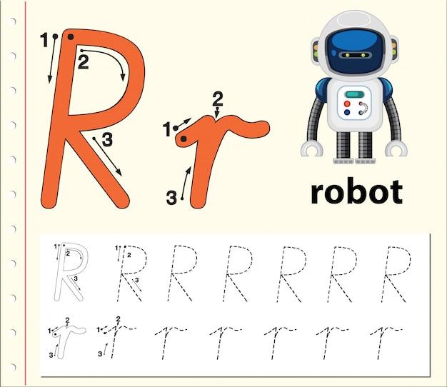 Arkusze alfabetyczne śledzenia liter r