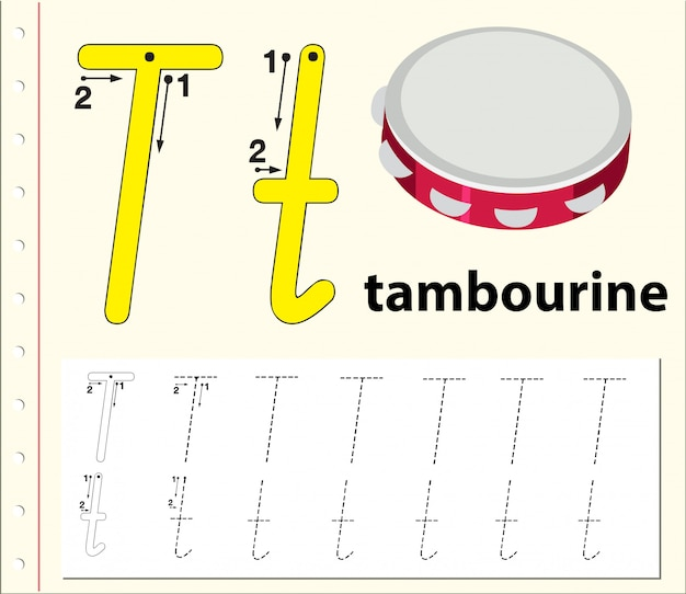 Arkusze alfabetyczne śledzenia litery t