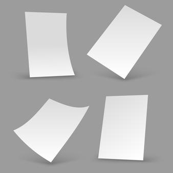 Arkusze białego papieru. pusta broszura a4, realistyczne makiety plakatów. 3d szablony ulotki wektor