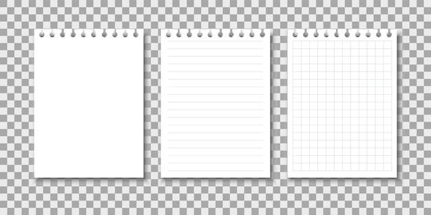 Arkusze notatnika. zestaw stron zeszytu.