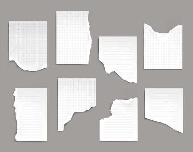 Arkusze notesu z podartymi krawędziami.