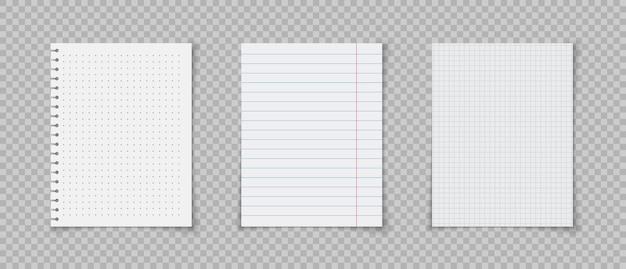 Arkusze papieru z liniami i kwadratami na notatki notatnik lub strona książki realistyczne notatniki w linie