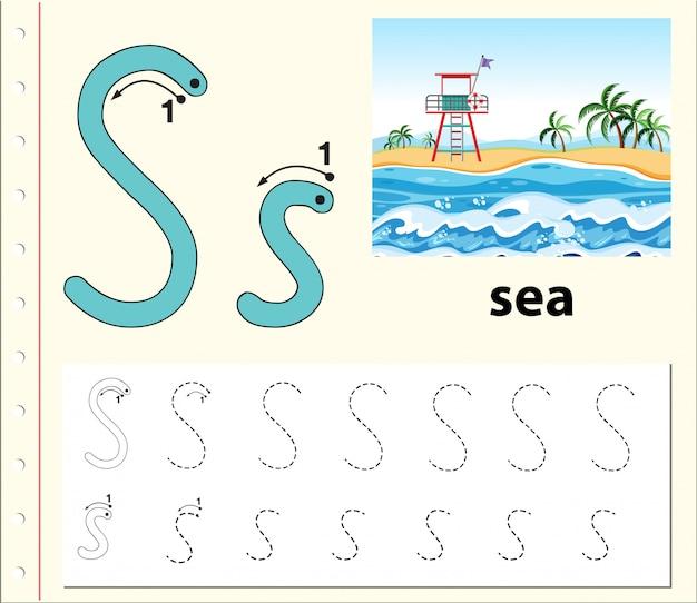 Arkusze śledzenia alfabetu litery s