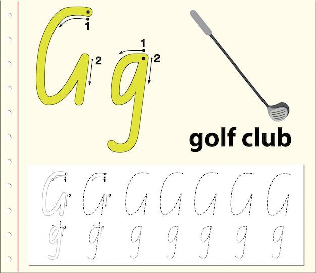 Arkusze z alfabetem alfabetu śledzenia g.