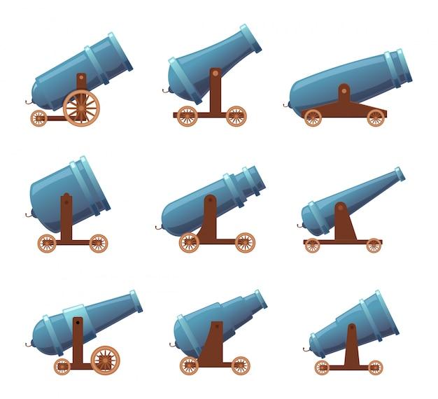 Armaty retro cannon. wojskowych piratów agresja artylerii ciężka średniowieczna walka broni kreskówka zestaw na białym tle