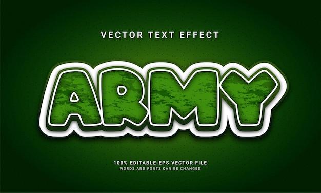 Armia 3d efekt stylu tekstu mundur wojskowy o tematyce!