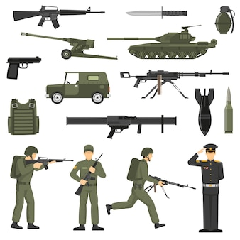 Armii wojskowej khaki kolor ikony collecton