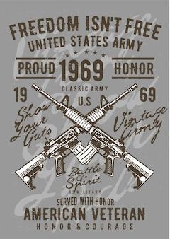 Army gun, plakat vintage ilustracji.