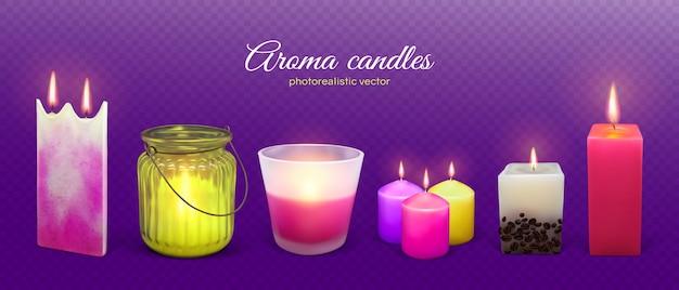 Aromat świecy płonące realistyczne ilustracja. zestaw świec aromatycznych woskowych.